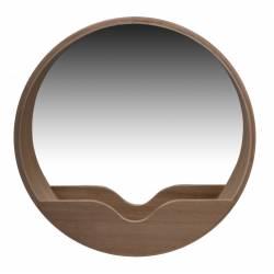 Miroir Round Wall 40 Zuiver Glace Ronde avec Rangement Décoration Murale en Bois Couleur Naturelle 8x40x40cm