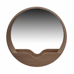 Miroir Round Wall 60 Zuiver Glace Ronde avec Rangement Décoration Murale en Bois Couleur Naturelle 8x60x60cm
