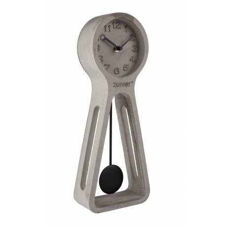 Horloge Pendulum Time Béton Zuiver Pendule à Poser en Béton Gris Aiguilles en Aluminium Noir 6x14,5x38cm