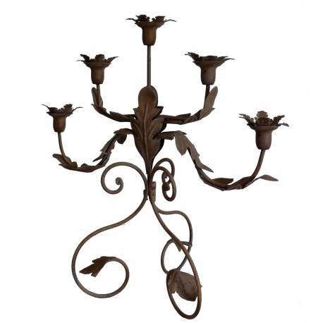 Grand Chandelier 5 Branches à Poser ou Bougeoir Motif Fleurs 5 Feux en Fer Patiné Bordeaux 22x49x51cm