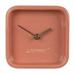 Horloge Cute Rose Zuiver Pendule à Poser en Céramique Aiguilles en Aluminium Or 6x13,5x13,5cm