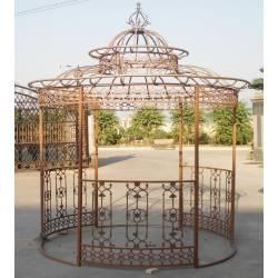 Charmante Tonnelle Kiosque de Jardin Pergola Abris Rond Kiosque en Fer Forgé et Fonte 340x250x250cm