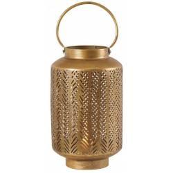 Lanterne Fougère Athezza Bougeoir à Poser ou à Suspendre Porte Bougies en Verre et Métal Couleur Bronze 21x21x50,5cm