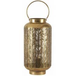 Photophore Tige Athezza Bougeoir Porte Bougies Cylindre en Verre Cadre en Métal Doré 14,8x14,8x47cm