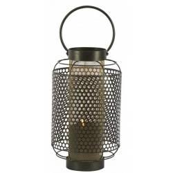 Lanterne Tao Athezza Bougeoir à Poser ou à Suspendre Porte Bougies en Verre et Métal Noir 22x22x51,5cm
