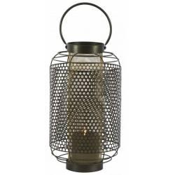 Lanterne Tao Athezza Bougeoir à Poser ou à Suspendre Porte Bougies en Verre et Métal Noir 25x25x59,5cm