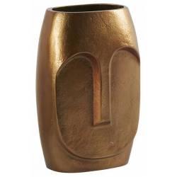 Vase Moai Laiton Oxydé Athezza Pot de Fleur Décoration à Poser Couleur Gold 9x12x23cm