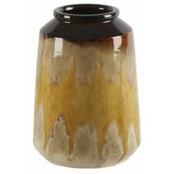 Céramique de Décoration Terra Moutarde Athezza Vase Décoration à Poser en Grès 15x15x21cm