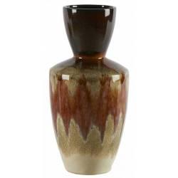 Céramique de Décoration Volcano Orange Athezza Vase Décoration à Poser en Grès 18x18x37cm