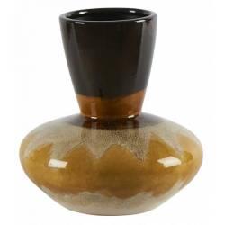 Céramique de Décoration Volcano Orange Athezza Vase Décoration à Poser en Grès 22x22x23cm