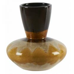 Vase Moai Laiton Oxydé Athezza Pot de Fleur Décoration à Poser Couleur Gold 10x18x31cm