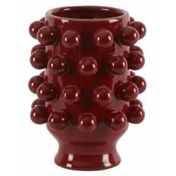 Céramique de Décoration Grappa Rouge Athezza Vase Décoration à Poser en Grès 18,7x18,7x24cm