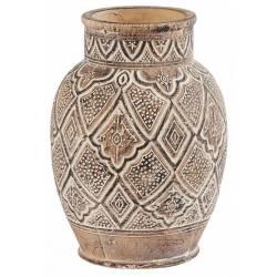 Vase Itza Athezza Décoration à Poser en Terre Cuite de Couleur Beige 21,5x21,5x30cm