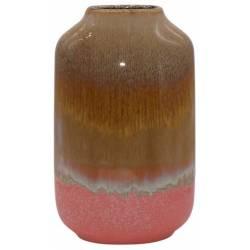 Céramique de Décoration Fuji Orange Athezza Vase Décoration à Poser en Grès 10,8x10,8x25,5cm