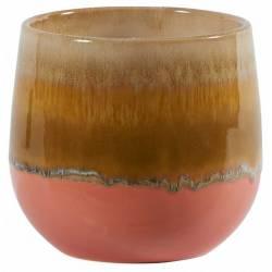 Coupe Fuji Orange Athezza Vase Décoration à Poser en Grès 13,5x14,7x14,7cm