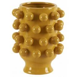 Céramique de Décoration Grappa Moutarde Athezza Vase Décoration à Poser en Grès 18,7x18,7x24cm