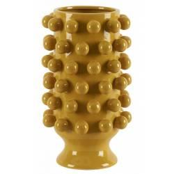 Céramique de Décoration Grappa Moutarde Athezza Vase Décoration à Poser en Grès 24,5x24,5x40cm