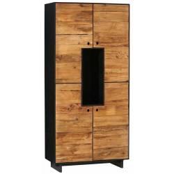 Armoire Dana Athezza Meuble de Rangement Bahut en Bois Couleur Naturelle et Noir 40x90x190cm