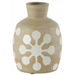 Vase Folklore Athezza Décoration à Poser en Céramique Blanc et Beige 12x12x16,5cm