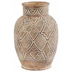 Vase Itza Athezza Décoration à Poser en Terre Cuite de Couleur Beige 25,5x25,5x37cm