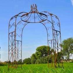 Charmante Gloriette Tonnelle Pergola Arche de Jardin en Acier Oxydé 240x240x300cm
