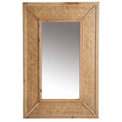 Miroir Solle Lastdéco Glace Rectangulaire Décoration Murale Couleur Naturelle en Bois et Verre 4x60x90cm