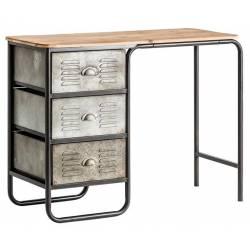 Bureau Tsaki Lastdeco Table d'Appoint 2 Tiroirs 1 Niche en Bois de Couleur Naturelle 42x78x120cm