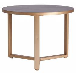 Table Basse Lucerna Lastdeco Sellette Table d'Appoint Guéridon en Métal Or et Verre Noir 46x60x60cm