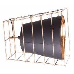 Lampe de Table Lucerna Lastdeco Luminaire à Poser Eclairage en Métal Noir et Doré 30x30x34cm