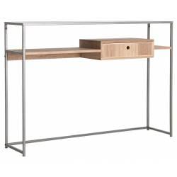 Console Vonitsa Lastdeco Table d'Appoint 1 Tiroir Sellette en Bois Couleur Naturelle et Métal Gris 30x86x120cm