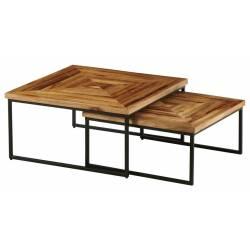 Table Basse Quadro Marque Hanjel Set de 2 Consoles Sellettes Guéridons 2 Dimensions en Teak et Métal 40x80x80cm