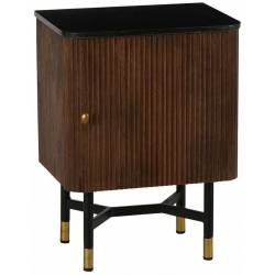 Chevet Germain Athezza Table de Nuit Meuble de Rangement en Manguier Brun Métal et Pierre Laqué Noir 34,5x45,5x62,5cm
