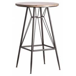 Table de Bar Alano Lastdeco Table Haute Mange Debout en Métal Noir et Bois de Couleur Naturelle 65x65x99cm