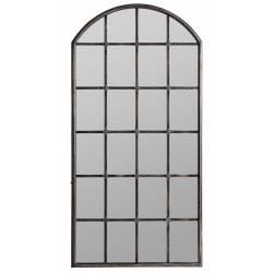 Grand Miroir Alano Lastdeco Décoration Murale Glace en Forme de Fenêtre en Métal Noir Patiné 3x76x153cm