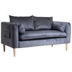 Canapé Aleria Lastdeco Sofa 2 Places Assise de Salon Banquette en Velours Bleu et Bois Couleur Naturelle 77x79x147cm