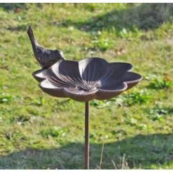 Grand Tuteur Bain d'Oiseaux à Piquer Coupelle Façon Bénitier Motif Fleur Ouverte en Fonte Patinée Marron 18x20x90cm