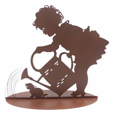 Silhouette à Poser Fille et Arrosoir Décoration de Jardin en Métal Marron 20x45x50cm