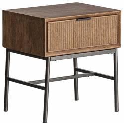 Table de Chevet Meira Lastdeco Table d'Appoint 1 Tiroir en Bois Couleur Naturelle et Métal Noir 36x47x51cm