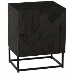 Chevet Villars Athezza 1 Porte 1 Etagère Table de Nuit en Manguier et Métal Noir 35,5x43x55,5cm