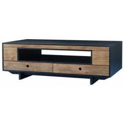 Meuble TV Dana Athezza Meuble de Rangement Bas en Bois Couleur Naturelle et Noir 45x70x135cm