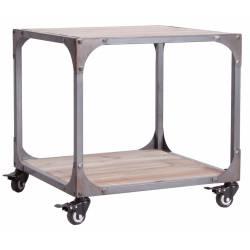Table Basse Malton Lastdeco Table d'Appoint sur Roulettes Sellette en Métal Gris 50x50x50cm et Bois Naturel