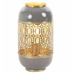 Lampe de Table ROHUT Luminaire d'Appoint en Métal Gris Chaud Foncé et Doré 17x17x30cm