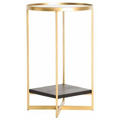 Table Basse Bellac Lastdeco Table d'Appoint Sellette en Métal Or Bois Noir et Verre Transparent 35x35x56cm
