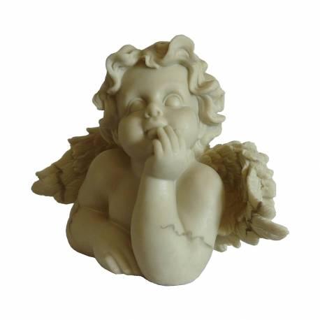 Statuette Ange ou Angelot Penseur ou Décoration d'Intérieur Style Chérubin à Poser en Résine 12x18,5x26cm