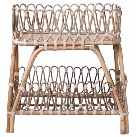 Table Basse Tressé Table d'Appoint avec Etagère Sellette Bout de Canapé en Rotin de Couleur Naturelle 26x52x60cm