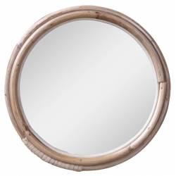Miroir avec Cadre en Bambou Décoration Murale Glace en Bois Couleur Naturelle 24x24x2cm