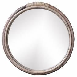 Miroir avec Cadre en Bambou Décoration Murale Glace en Bois Couleur Naturelle 28x28x2cm