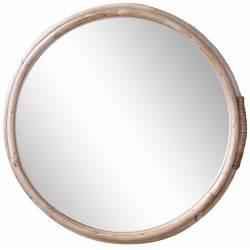 Miroir avec Cadre en Bambou Décoration Murale Glace en Bois Couleur Naturelle33x33x2.5cm