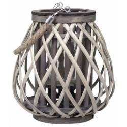 Lanterne Décorative en Osier à Poser ou à Suspendre avec Porte Bougie et Cordelette Couleur Naturelle 23x23x25cm