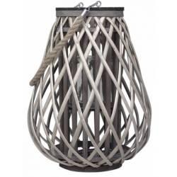 Lanterne Décorative en Osier à Poser ou à Suspendre avec Porte Bougie et Cordelette Couleur Naturelle 36x36x50cm
